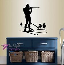 Wall Vinyl Biathlon Shooting Skiing Winter Sports Removable Wall Sticker 1290