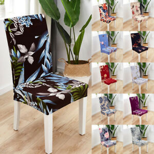 1PC Spandex Stretch Dining Chair Cover Floral Printed Seat Slipcovers Home DFSF