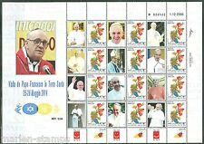 ISRAEL 2014 'THE VISIT OF POPE FRANCIS'  GOOD LUCK GENERIC SHEET ITALIAN