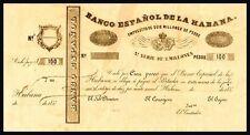Facsimil Billete 100 Pesos Banco Español de la Habana 1857 - Reproduction