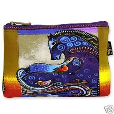 Laurel Burch Aquatic Horses Blue Purple Beige Canvas Cosmetic Zipper Bag NWT 1d4d6c3785b12
