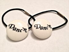 "Leo's Elastic White Tap Shoe Tap Ties with ""Danc'n"" in Black Font"