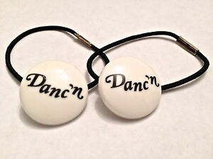 """Leo's Elastic White Tap Shoe Tap Ties with """"Danc'n"""" in Black Font"""