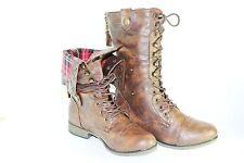 Women Combat Boots Mid Calf Fashion shoe Folding Plaid Lining Style Black Tan BR