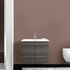 Mobile sospeso da bagno compatto 60 cm con ante e lavabo in resina rovere scuro