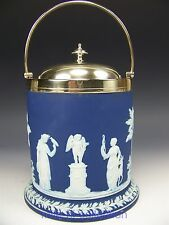 VINTAGE WEDGWOOD BISCUIT COOKIE JAR CRACKER BARREL COBALT BLUE SILVER PLATED