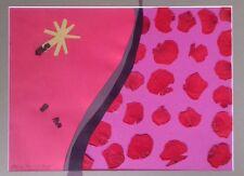 Hilton Mcconnico : Collage original signé daté 97 fleurs coquelicots