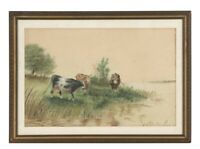 Beautiful Antique Watercolor Painting of Cows in a Pasture