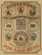 "1850 Gun Powder advertisement, Art Print, Hunting, Guns, antique decor, 20""x16"""
