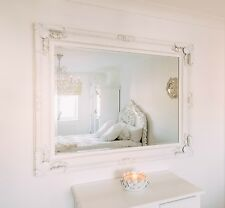 French Style Large Ornate White Wall Mirror