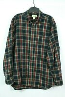 Men's LL Bean Plaid Flannel Shirt Large Traditional Fit Classic Pattern Cotton