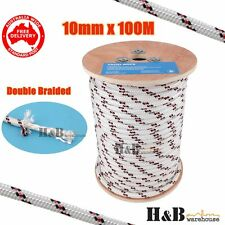 10mm 100M Double Braided Polyester Rigging Line Yacht Rope Boat Mooring BR C0133