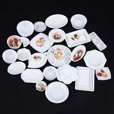 33Pcs DIY Kids 1/12 Scale Dollhouse Tableware Kitchen Miniature Plates Set