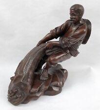 Belle SCULPTURE en Bois sculpté Pêcheur Japonais Japon Statuette