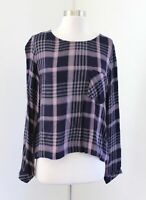 Cloth and Stone Anthropologie Navy Blue Plaid Lace Up Back Top Blouse Size M