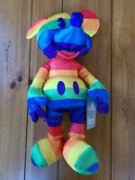 "MICKEY MOUSE PRIDE 15.5"" Satiny Plush Disney Rainbow Collectable / NWT Medium"