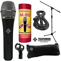Telefunken M80 Dynamic Microphone (STANDARD) + 20ft XLR Cable and a Mic Stand