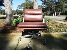 Herman Miller Eames Soft Pad Management Arm Chair Brown Leather