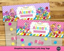 SHOPKINS LOLLY BAG TAG PERSONALISED BIRTHDAY PARTY FAVOUR LOOT TOPPER SHOPPIES