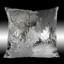 SHINY SMOOTH GRAY THICK VELVET SILVER DAMASK THROW PILLOW CASE CUSHION COVER 17""