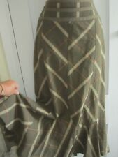 Ladies size 10 Per Una M&S khaki red cream mix check long lined skirt