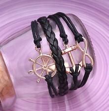 Handmade Infinity Vintage Friendship AnchorRudder Charms Leather Black Bracelet