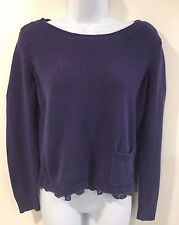LC Lauren Conrads Womens M Purple Sweater Lacey Trim Pocket in front Tie in Back
