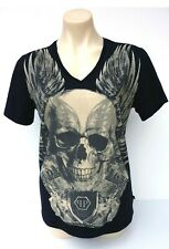 PHILIPP PLEIN Homme T-Shirt Crystal Embellished Skull Size L Unisex V-Neck Tee