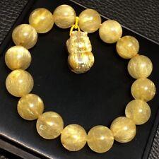 13mm Natural Gold Quartz Golden Hair Rutilated Titanium Pi Xiu Crystal Bracelet