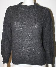 SUMAC ALPACA Baby Alpaca Gray Sweater Peru S Cable Knit LS