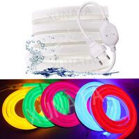 220V 240V LED Neon Strip Light 5050 2835 120LEDs/m Flexible Rope+Power Plug
