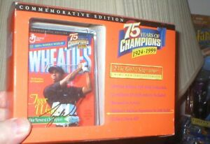 TIGER WOODS 24K GOLD REPLICA SIGNATURE COMMEMORATIVE WHEATIES MINI BOX, UNOPEN