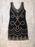 Gatsbylady London 1920's 's Inspired Hand Embellished Black Dress Size 12