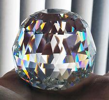 Swarovski Crystal Round Rainbow Prism Etched Swan Paperweight Art