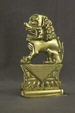 Vintage Metalware Mid Century Solid Brass Bookend Foo Dog Made In Hong Kong