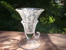 "clear etched glass horn of plenty cornucopia 4 3/4"" Vase"