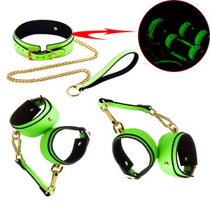 Bondage Set PU Leather Collar Handcuffs Ankle cuffs Glow-in-the-Dark Couple toy