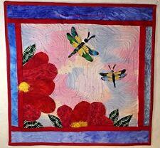 """Haiku Art Quilt 20""""x 20"""" Red Flowers & Dragonflies Handmade"""