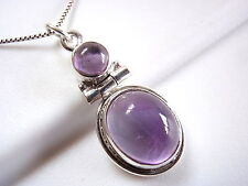 Amethyst Necklace 925 Sterling Silver Double-Gem Round Oval New #114z