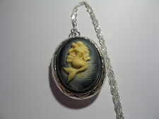 CAMEO LOCKET MERMAID WITH A SHELL IVORY ON BLACK