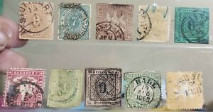 Germany State Wurttemberg Very Early Stamps in old stock card condition as is