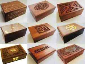 Hand Carved Jewellery Trinket Wood Box Gift Pentagram Star Sun Moon Floral Brass