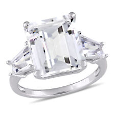 Amour Sterling Silver White Topaz Three-Stone Engagement Ring