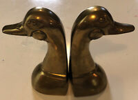 Vintage Solid Brass Duck Head Bookends MCM Heavy  6""