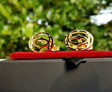 Cartier Cufflinks Golden Double C Mirror Finish  Luxury Cuff Links with Box