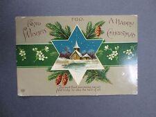 Postcard Christmas Greetings E A Schwerdtfeger Snowy Church Pine Cones 1911