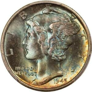 1945-S Mercury Dime PCGS MS68 CAC Gorgeous Aqua and Gold Toning