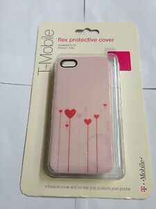T-mobile Red Pink Heart TPU Case Soft Cover & LCD Protector For iPhone 5 5S