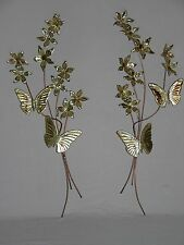 Vintage Pair Home Interiors Metal Butterflies & Flowers Wall Accent Plaques