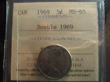 CANADA FIVE CENTS 1969 DOUBLE 1969 ICCS MS-65 !!!! Spectacular coin!